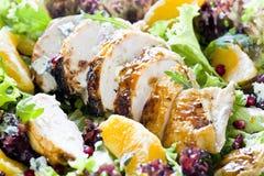 Pollo e fine arancione dell'insalata in su Fotografia Stock
