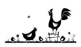 Pollo e gallo Gallinacei nazionali illustrazione vettoriale