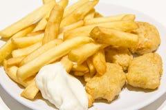 Pollo e patate fritte delle fritture immagine stock