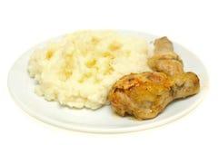 Pollo e purè di patate Fotografia Stock Libera da Diritti