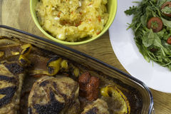 Pollo e purè di patate Fotografia Stock