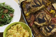 Pollo e purè di patate Immagini Stock