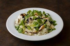 Pollo e riso con l'insalata della valeriana Fotografia Stock Libera da Diritti