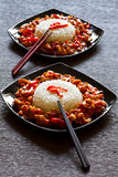 Pollo e riso di Szechuan Fotografia Stock Libera da Diritti