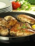 Pollo ed aglio, primo piano Immagine Stock Libera da Diritti