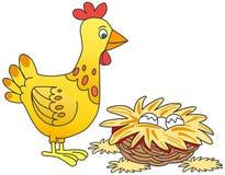 Pollo ed uova Fotografie Stock Libere da Diritti