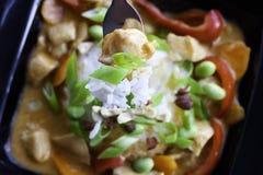 Pollo en curry y arroz rojos Foto de archivo libre de regalías