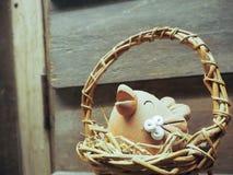 Pollo en la cesta fotografía de archivo