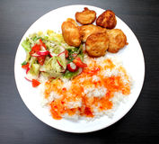 Pollo en una placa con arroz y ensalada Fotografía de archivo libre de regalías