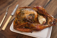 Pollo entero frito Foto de archivo libre de regalías