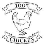 Pollo etiqueta del 100 por ciento Imágenes de archivo libres de regalías