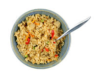 Pollo Fried Rice Bowl Spoon Fotografie Stock