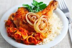 Pollo frito con arroz Fotografía de archivo libre de regalías