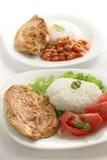 Pollo frito con arroz hervido Imagen de archivo libre de regalías