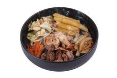 Pollo frito del teriyaki con la patata y la hierba de la mantequilla Imágenes de archivo libres de regalías