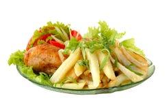 Pollo frito y patata Imagenes de archivo