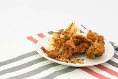 Pollo fritto appiccicoso del riso Fotografie Stock Libere da Diritti
