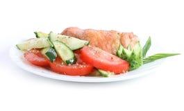 Pollo fritto con insalata Immagine Stock