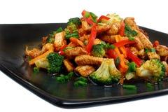 Pollo fritto con le verdure Fotografia Stock