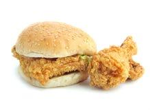 Pollo fritto dell'hamburger fotografia stock