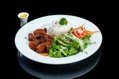 Pollo fritto e riso fotografie stock