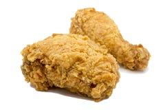Pollo fritto isolato su priorità bassa bianca Immagine Stock Libera da Diritti