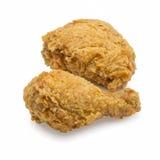 Pollo fritto isolato su priorità bassa bianca Immagine Stock