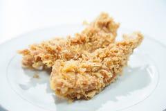 Pollo fritto nel grasso bollente. Fotografie Stock Libere da Diritti
