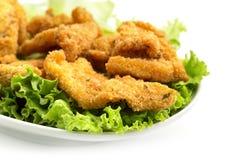 Pollo fritto su lattuga immagine stock libera da diritti