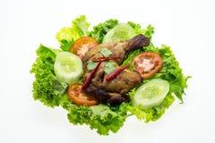 Pollo fritto su priorità bassa bianca Fotografia Stock Libera da Diritti