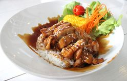 Pollo giapponese di Teriyaki dell'alimento con riso immagine stock libera da diritti