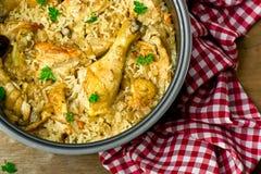 Pollo guisado con arroz Imágenes de archivo libres de regalías