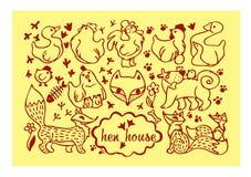 pollo, huevo, gallo, polluelo, Fox, perro, huella, ganso, pato, flor, animales estilizados Imagenes de archivo