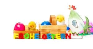 Pollo, huevos, polluelos, Pascua Imágenes de archivo libres de regalías