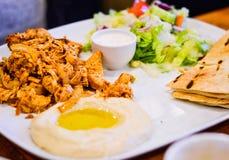 Pollo marinato arrostito al carbone di legno con il hummus, il pane di Pitta e l'insalata immagine stock libera da diritti