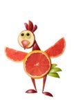 Pollo in modo divertente fatto dei frutti immagini stock libere da diritti