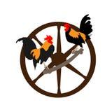 Pollo negro-y-rojo del vector dos stock de ilustración