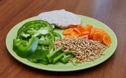 Pollo o tacchino cucinato fresco, due fette che si trovano su un piatto verde Immagini Stock Libere da Diritti