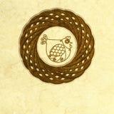 Pollo ornato in nido stilizzato fotografia stock