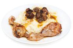 Pollo, patatas trituradas Fotografía de archivo