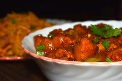 pollo picante caliente del chile y tallarines szechuan fotos de archivo