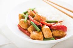 Pollo picante con las habas verdes de las verduras y ascendente cercano de la pimienta roja y del arroz Fotos de archivo libres de regalías