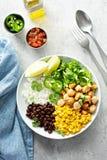 Pollo piccante del Chipotle con il cereale del riso, fagioli immagine stock libera da diritti