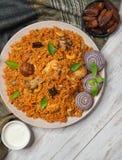 Pollo piccante delizioso con riso, alimento indiano fotografie stock libere da diritti