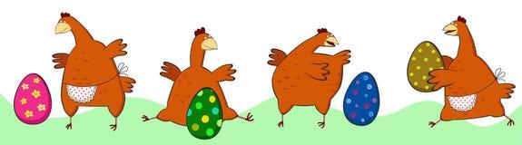 Pollo quattro con le uova di Pasqua. Fotografia Stock