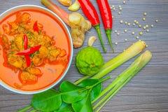 Pollo rosso del curry, alimento piccante tailandese ed ingredienti freschi dell'erba sopra fotografia stock libera da diritti