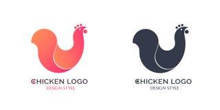 Pollo rosso ed il nero di logo Immagini Stock