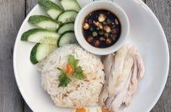 Pollo stile Hainan affettato con riso marinato Fotografia Stock Libera da Diritti