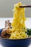 Pollo stufato della tagliatella dell'uovo della tenuta dei bastoncini dalla ciotola Immagini Stock