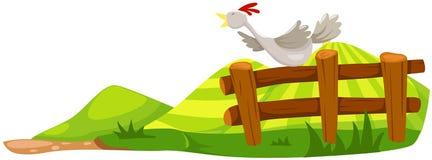 Pollo sulla rete fissa illustrazione vettoriale